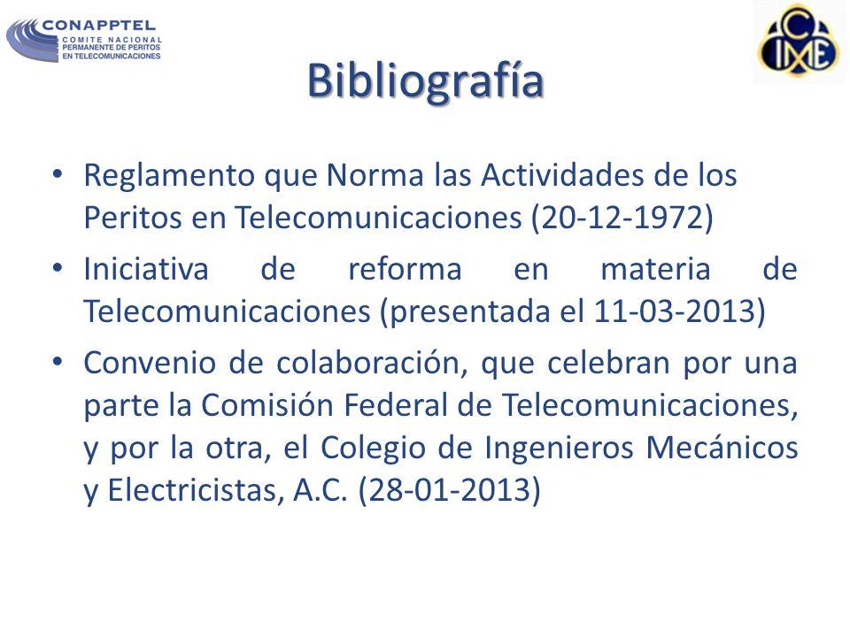 Bibliografía Reglamento que Norma las Actividades de los Peritos en Telecomunicaciones (20-12-1972)
