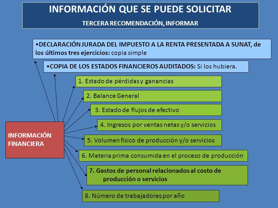 INFORMACIÓN QUE SE PUEDE SOLICITAR TERCERA RECOMENDACIÓN, INFORMAR