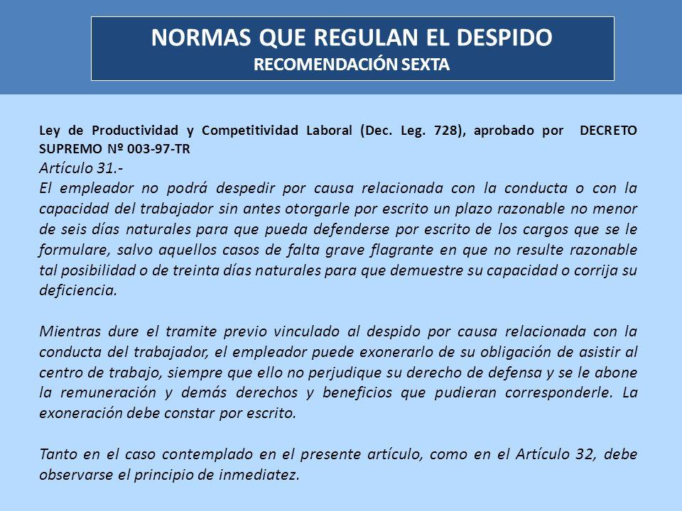 NORMAS QUE REGULAN EL DESPIDO RECOMENDACIÓN SEXTA