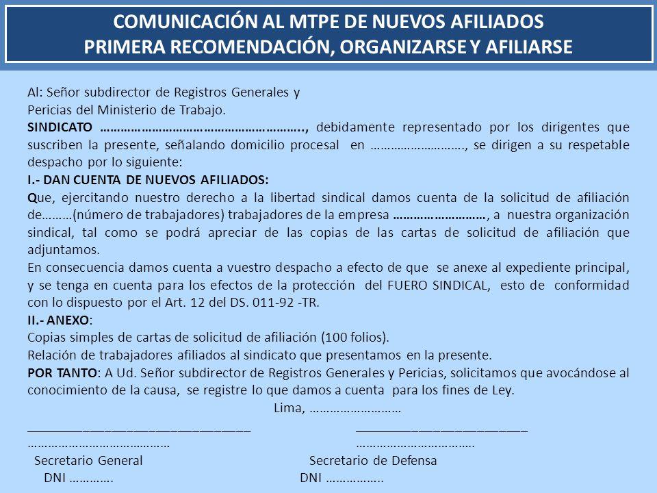 COMUNICACIÓN AL MTPE DE NUEVOS AFILIADOS