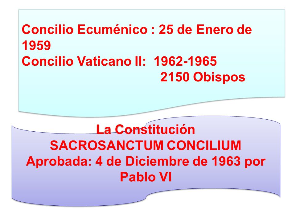 SACROSANCTUM CONCILIUM Aprobada: 4 de Diciembre de 1963 por Pablo VI
