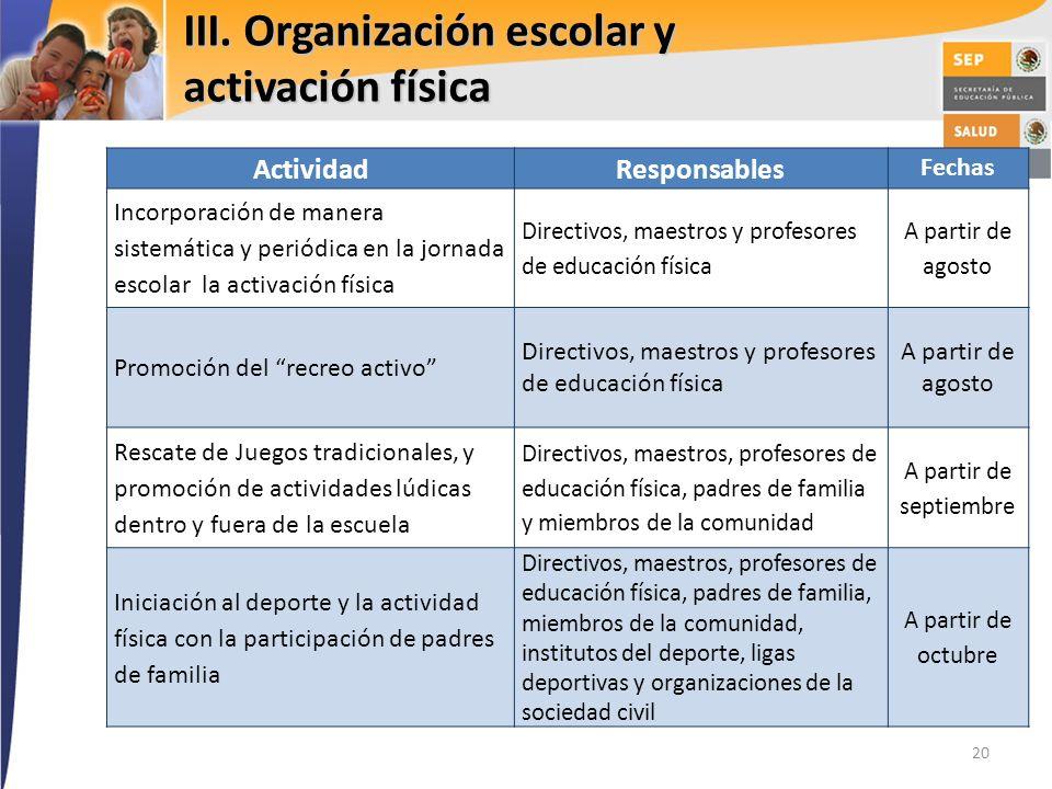 III. Organización escolar y activación física