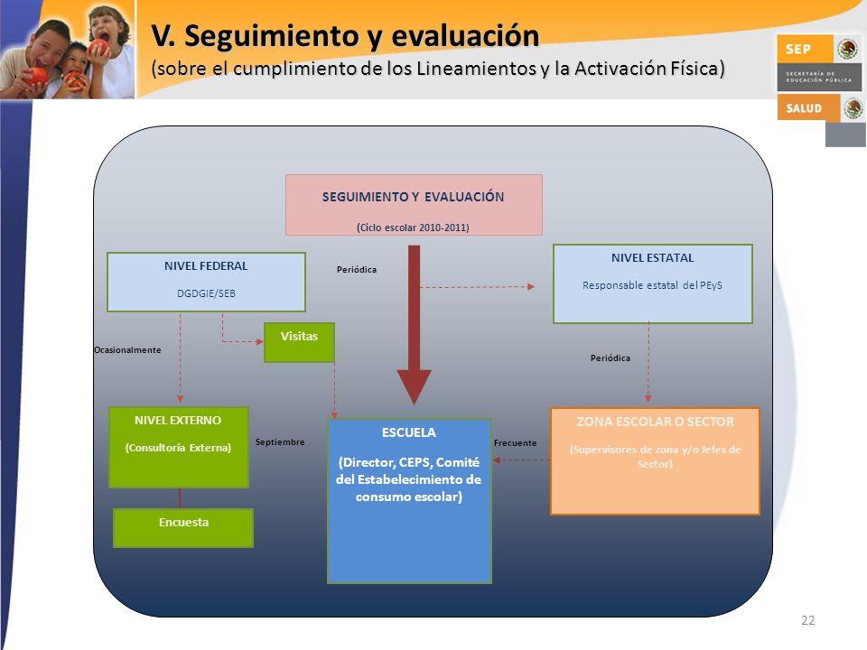 V. Seguimiento y evaluación (sobre el cumplimiento de los Lineamientos y la Activación Física)