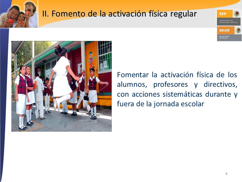 II. Fomento de la activación física regular