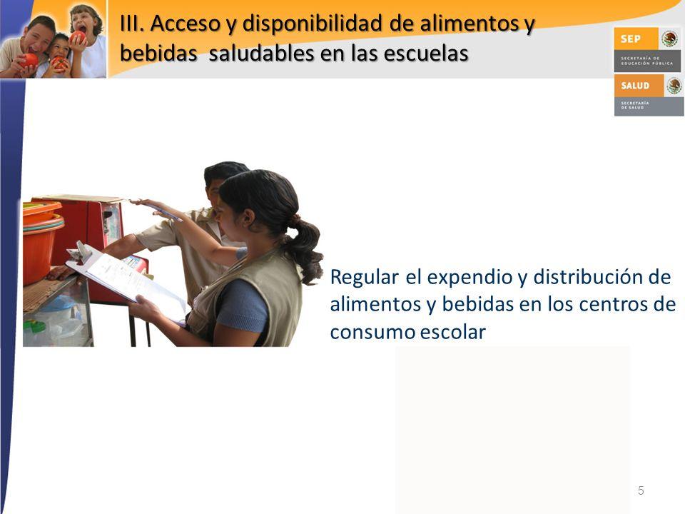 III. Acceso y disponibilidad de alimentos y bebidas saludables en las escuelas