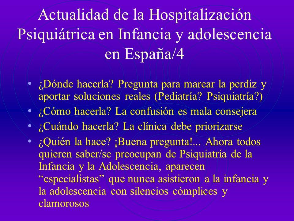 Actualidad de la Hospitalización Psiquiátrica en Infancia y adolescencia en España/4