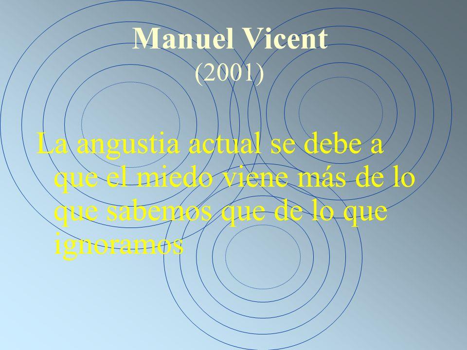 Manuel Vicent (2001) La angustia actual se debe a que el miedo viene más de lo que sabemos que de lo que ignoramos.