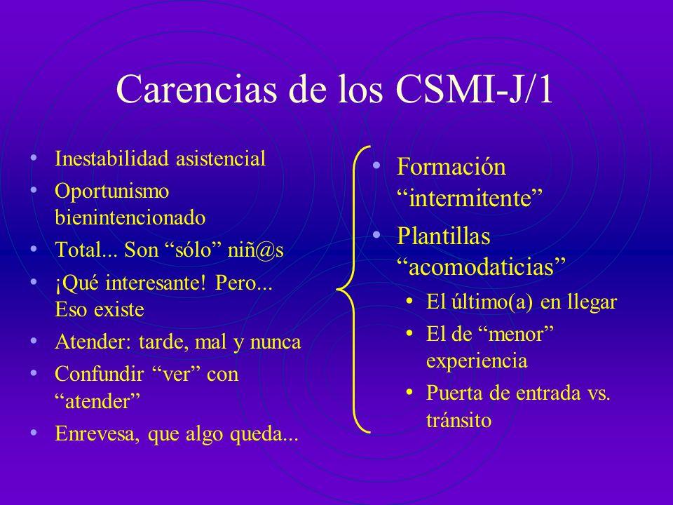 Carencias de los CSMI-J/1