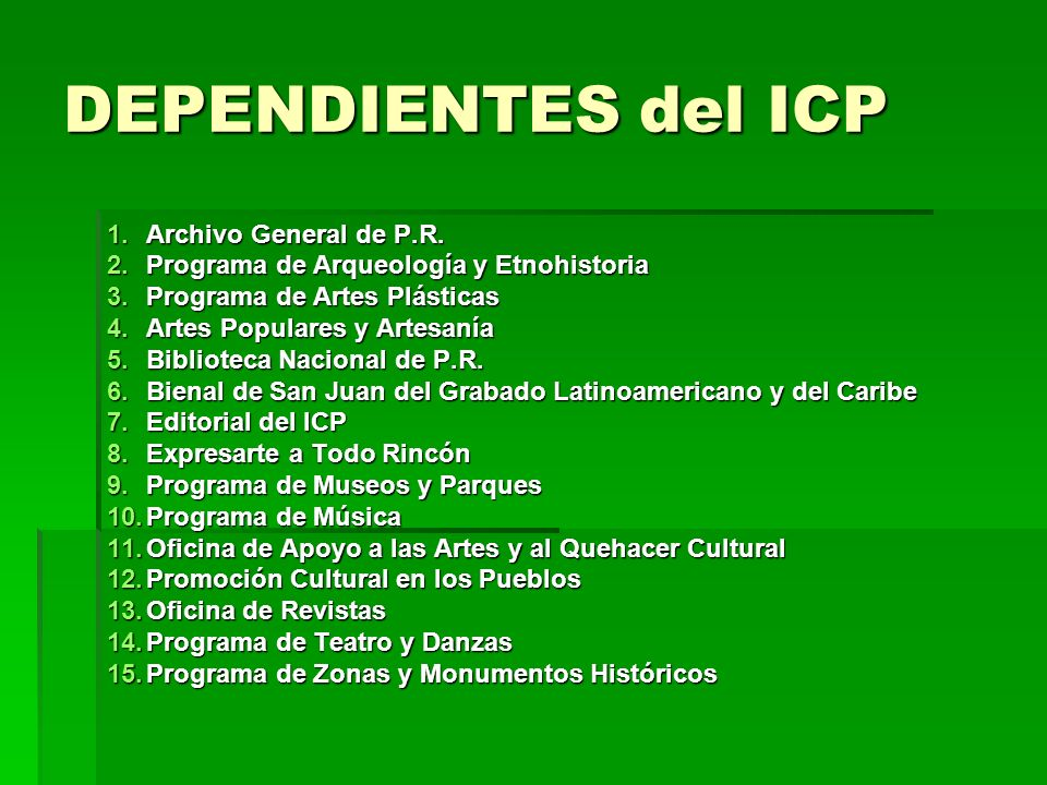 DEPENDIENTES del ICP Archivo General de P.R.