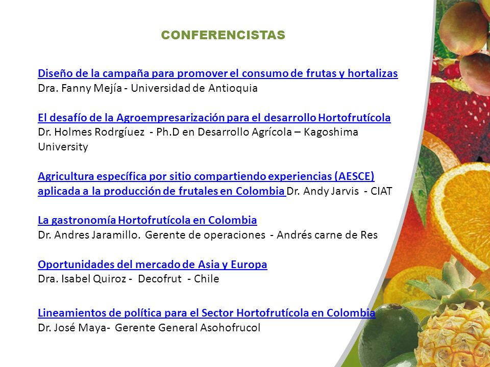 CONFERENCISTAS Diseño de la campaña para promover el consumo de frutas y hortalizas Dra. Fanny Mejía - Universidad de Antioquia
