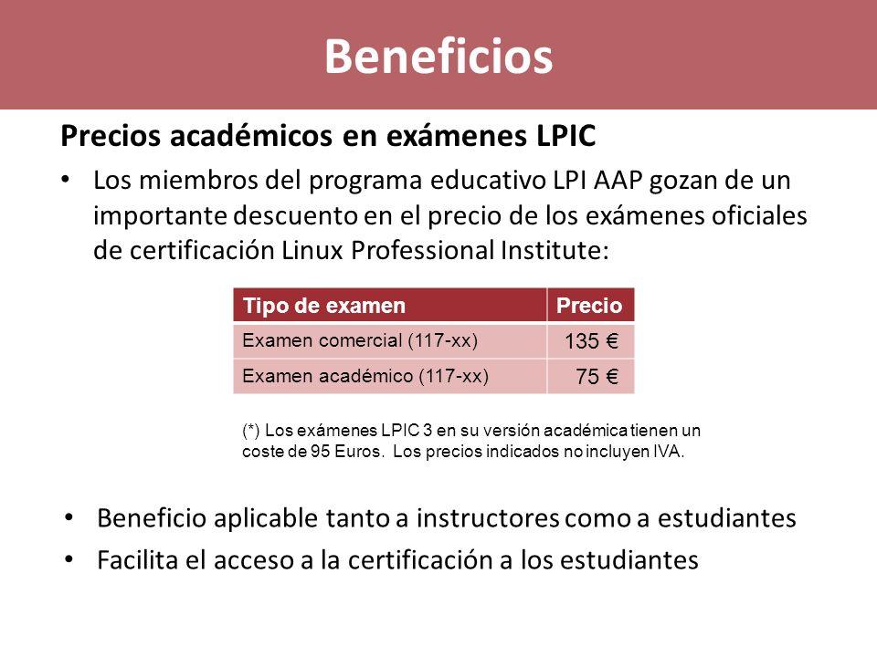 Beneficios Precios académicos en exámenes LPIC