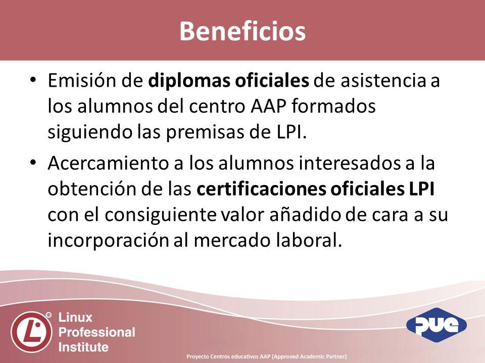 Beneficios Emisión de diplomas oficiales de asistencia a los alumnos del centro AAP formados siguiendo las premisas de LPI.