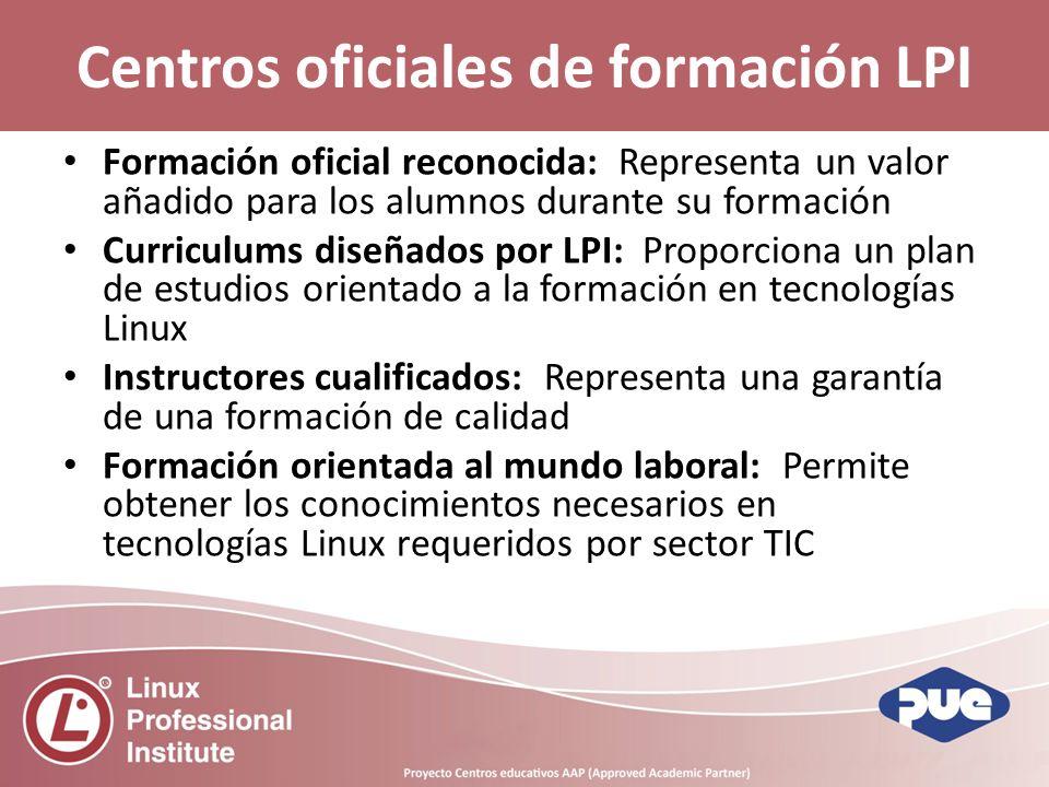 Centros oficiales de formación LPI