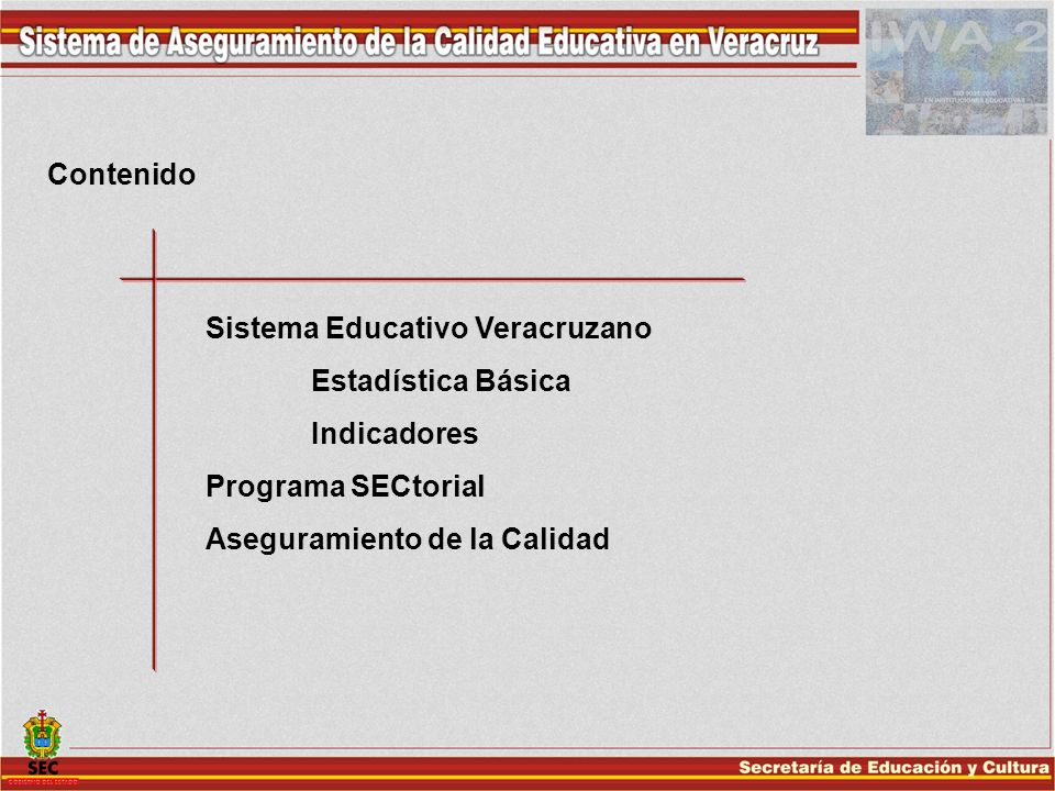 Contenido Sistema Educativo Veracruzano. Estadística Básica.