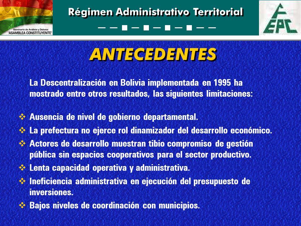 ANTECEDENTES La Descentralización en Bolivia implementada en 1995 ha mostrado entre otros resultados, las siguientes limitaciones: