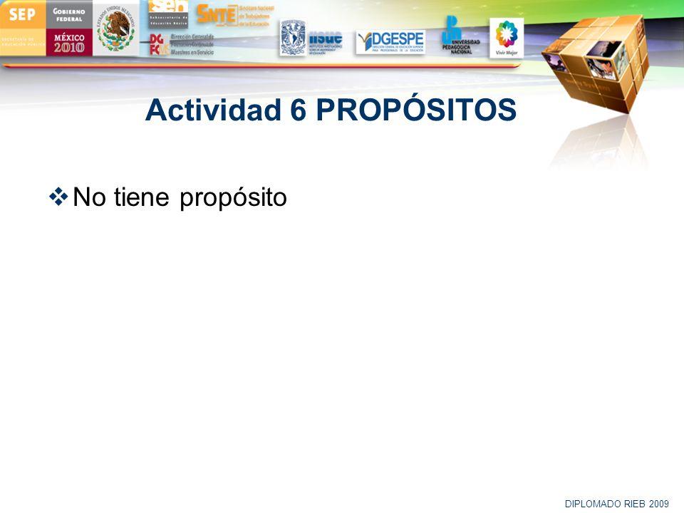 Actividad 6 PROPÓSITOS No tiene propósito DIPLOMADO RIEB 2009 20