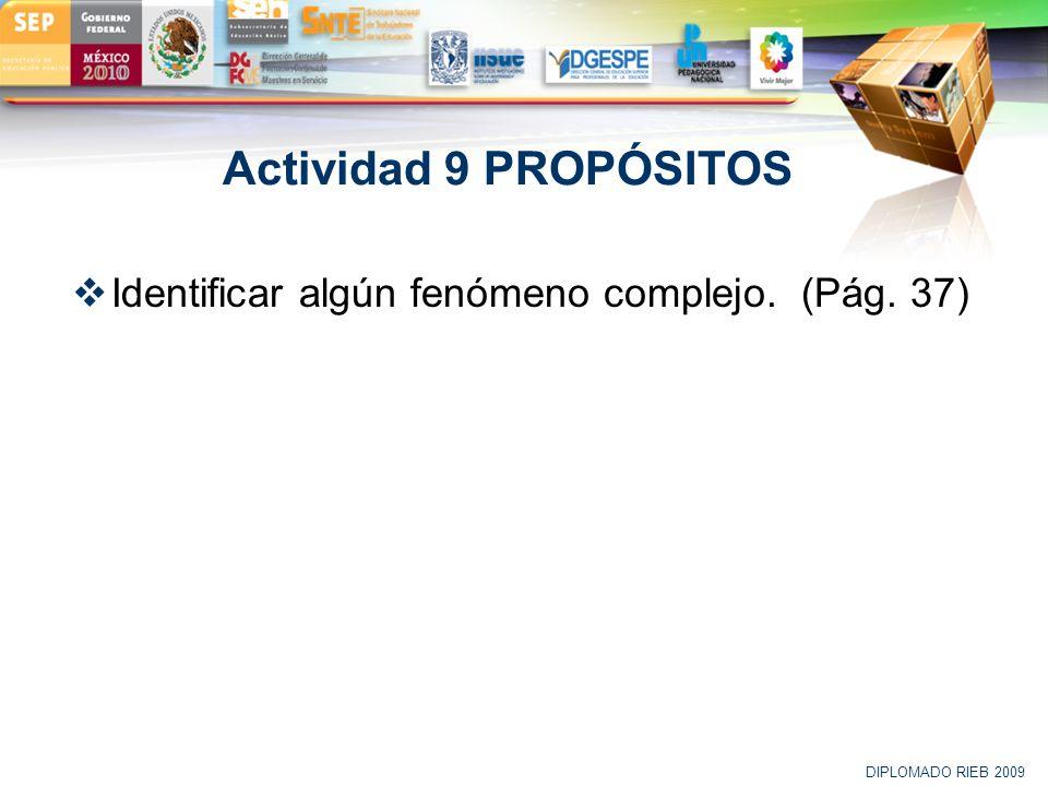 Actividad 9 PROPÓSITOS Identificar algún fenómeno complejo. (Pág. 37)