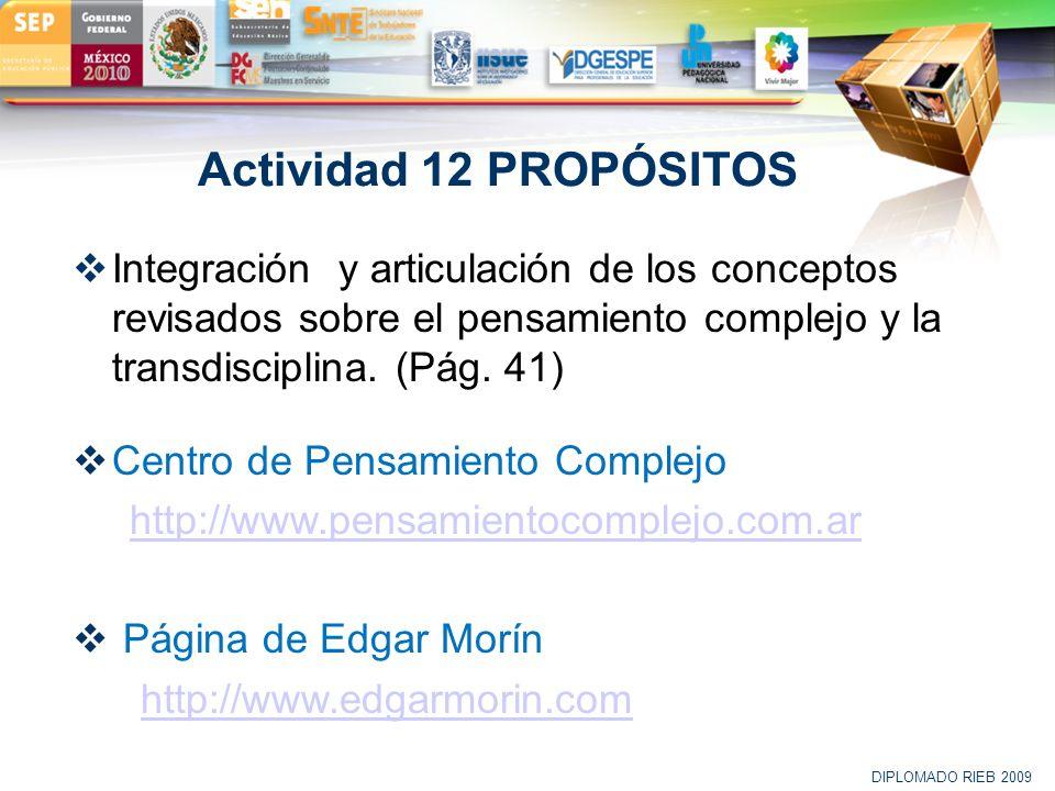 Actividad 12 PROPÓSITOS Integración y articulación de los conceptos revisados sobre el pensamiento complejo y la transdisciplina. (Pág. 41)