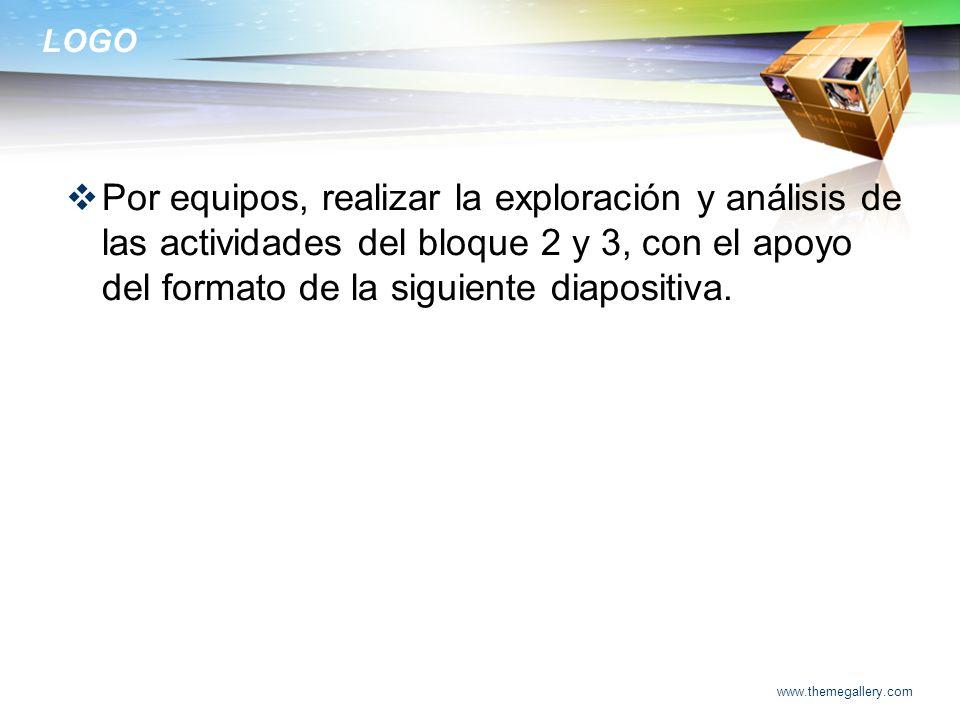 Por equipos, realizar la exploración y análisis de las actividades del bloque 2 y 3, con el apoyo del formato de la siguiente diapositiva.