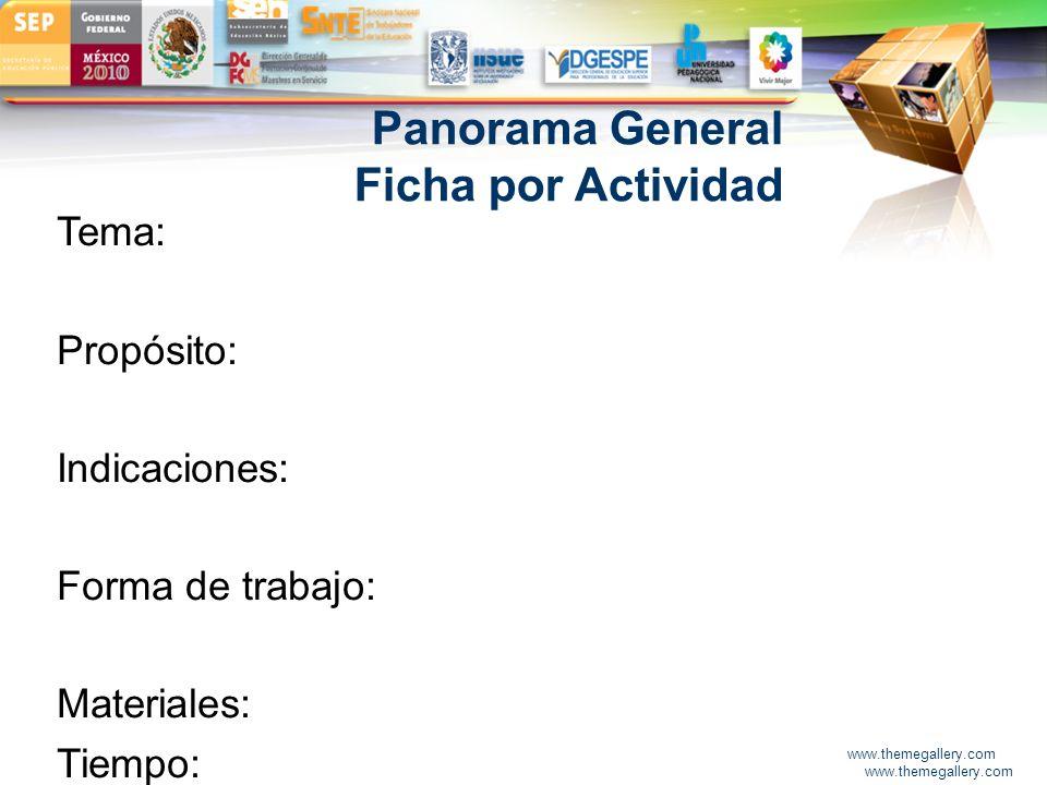 Panorama General Ficha por Actividad Tema: Propósito: Indicaciones: