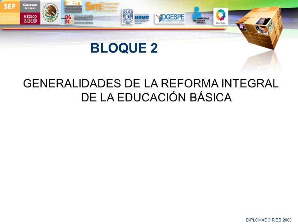 GENERALIDADES DE LA REFORMA INTEGRAL DE LA EDUCACIÓN BÁSICA
