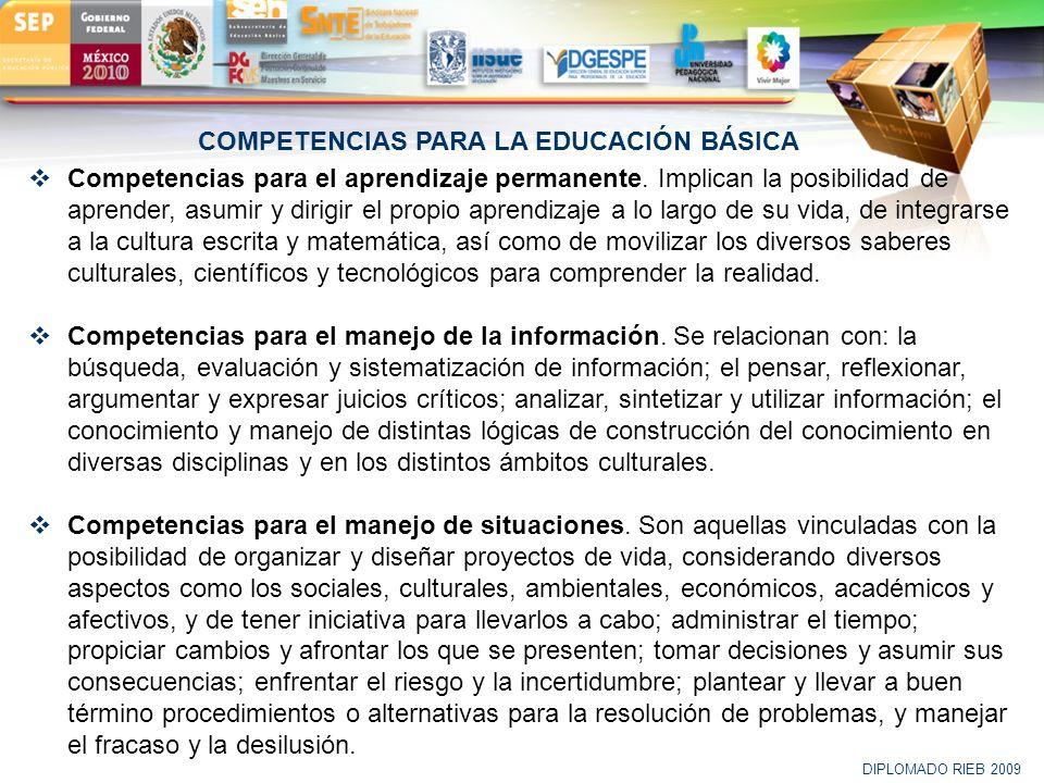 COMPETENCIAS PARA LA EDUCACIÓN BÁSICA