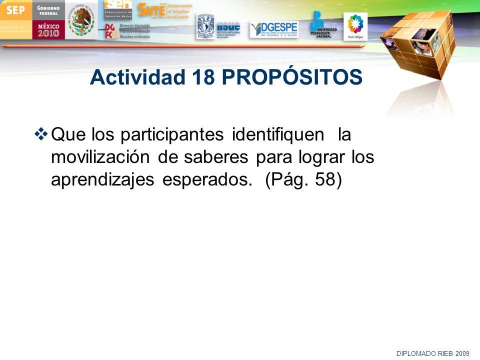Actividad 18 PROPÓSITOS Que los participantes identifiquen la movilización de saberes para lograr los aprendizajes esperados. (Pág. 58)