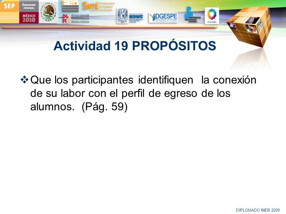 Actividad 19 PROPÓSITOS Que los participantes identifiquen la conexión de su labor con el perfil de egreso de los alumnos. (Pág. 59)