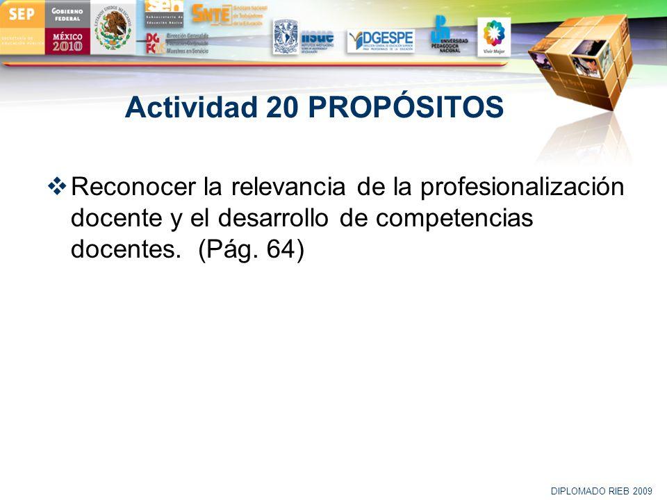Actividad 20 PROPÓSITOS Reconocer la relevancia de la profesionalización docente y el desarrollo de competencias docentes. (Pág. 64)