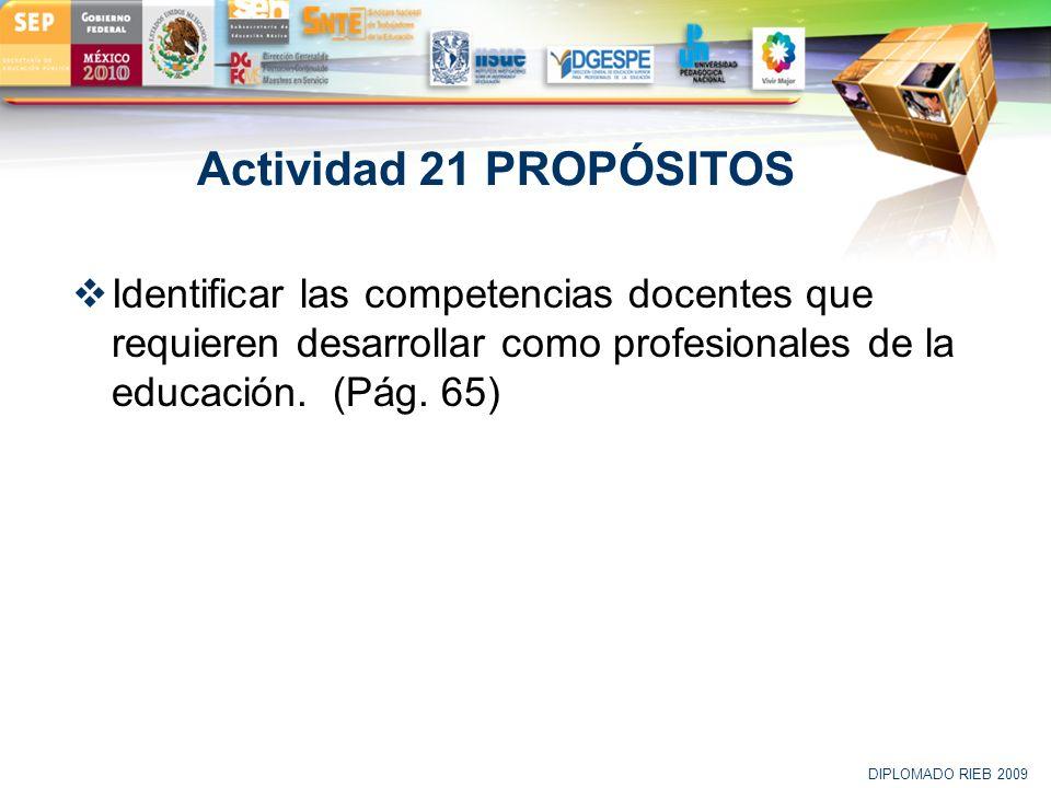 Actividad 21 PROPÓSITOS Identificar las competencias docentes que requieren desarrollar como profesionales de la educación. (Pág. 65)