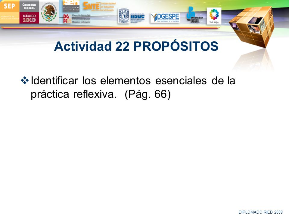 Actividad 22 PROPÓSITOS Identificar los elementos esenciales de la práctica reflexiva. (Pág. 66) DIPLOMADO RIEB 2009.