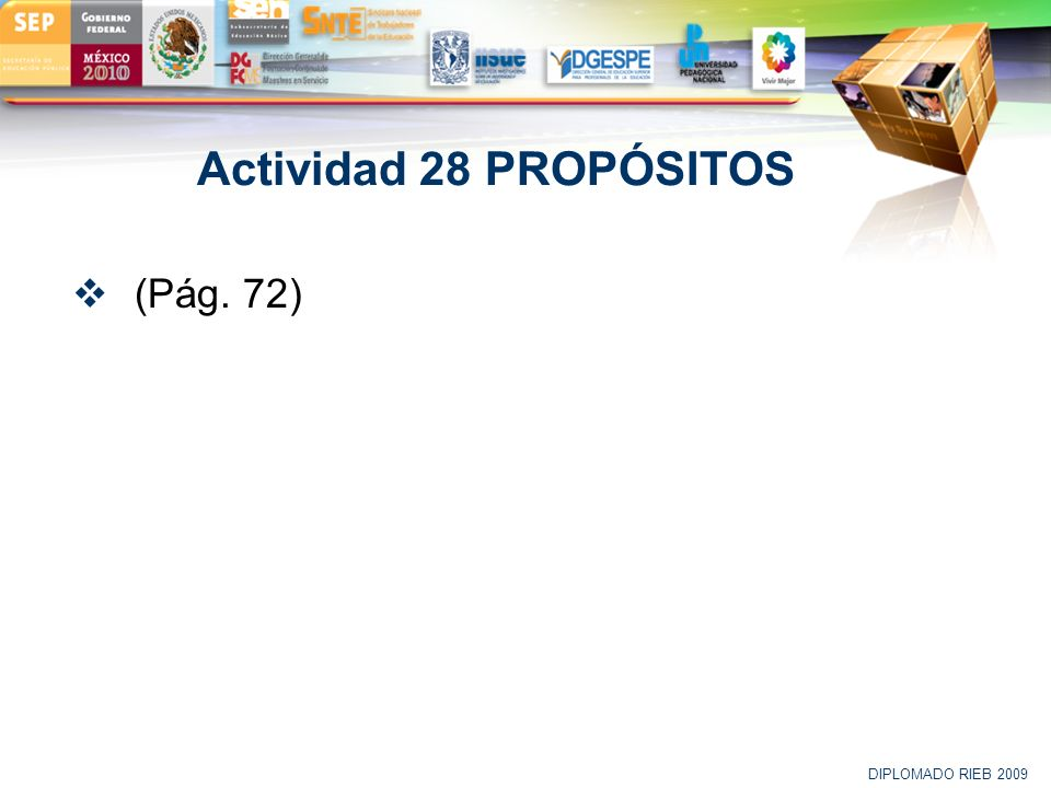 Actividad 28 PROPÓSITOS (Pág. 72) DIPLOMADO RIEB 2009 50