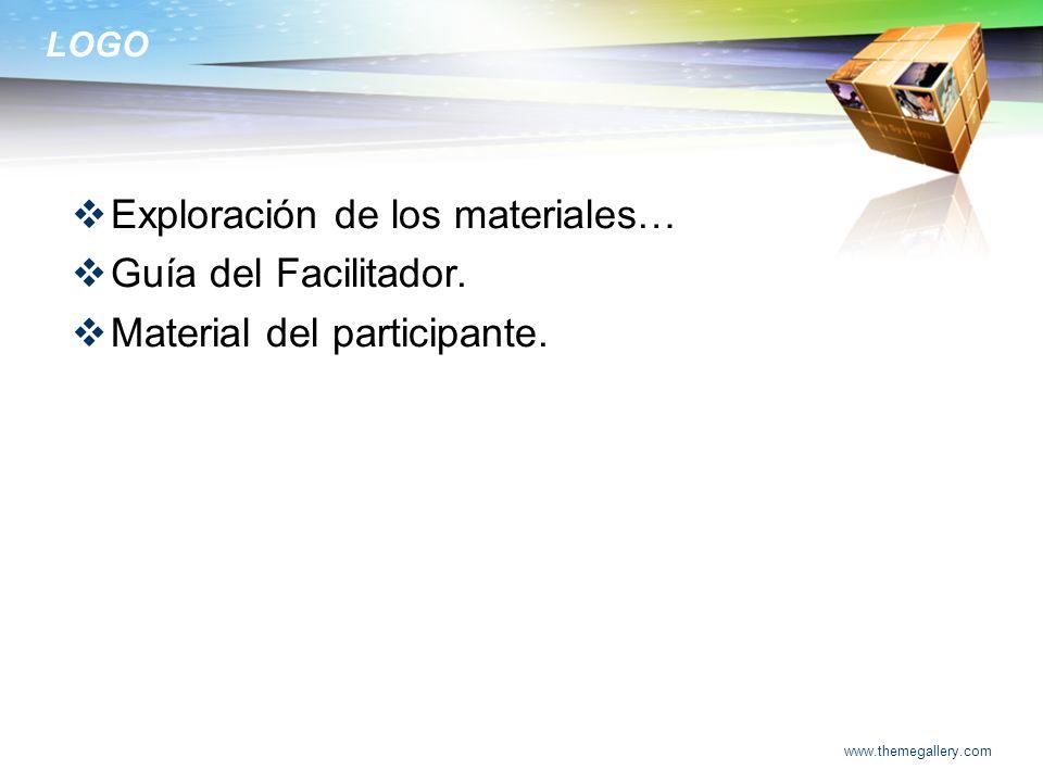 Exploración de los materiales… Guía del Facilitador.