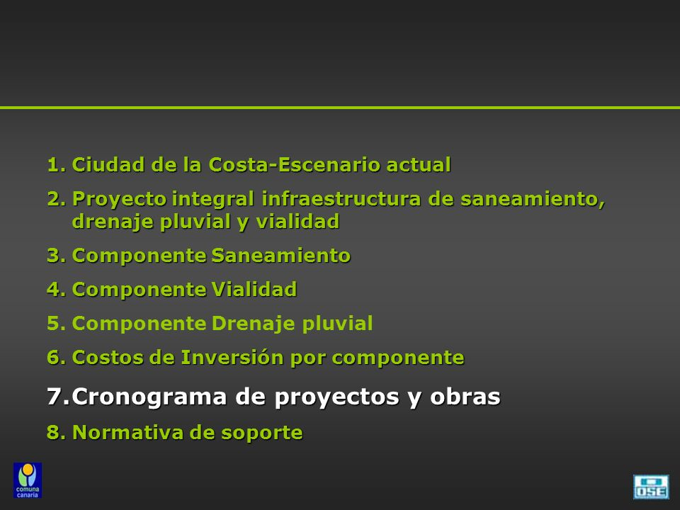 Cronograma de proyectos y obras