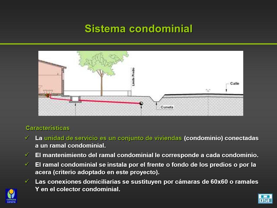 Sistema condominial Características. La unidad de servicio es un conjunto de viviendas (condominio) conectadas a un ramal condominial.