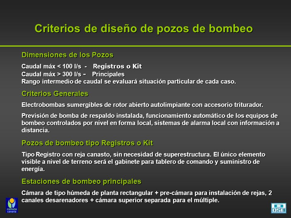 Criterios de diseño de pozos de bombeo