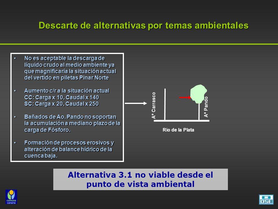 Descarte de alternativas por temas ambientales