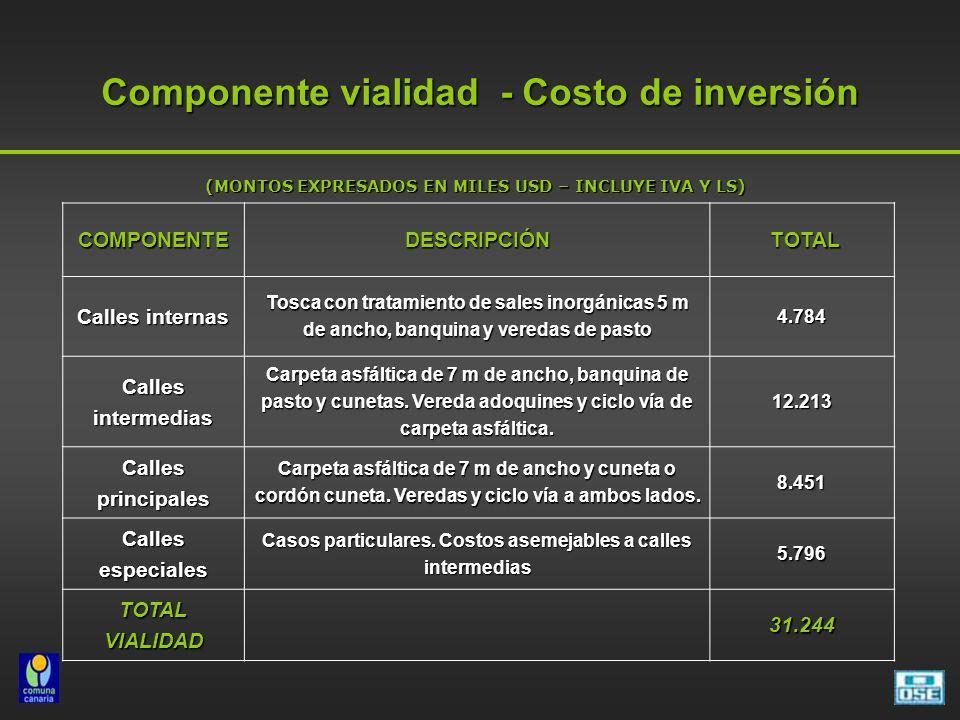 Componente vialidad - Costo de inversión