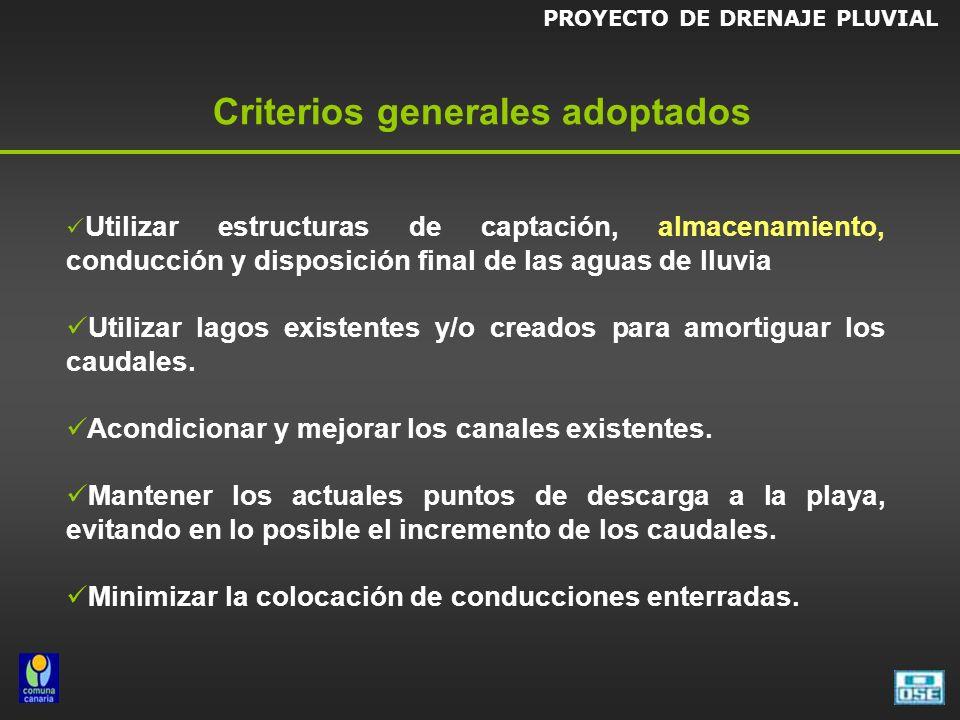 PROYECTO DE DRENAJE PLUVIAL Criterios generales adoptados