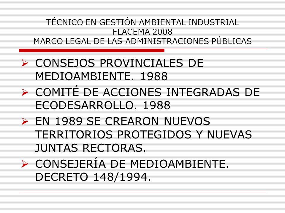 CONSEJOS PROVINCIALES DE MEDIOAMBIENTE. 1988