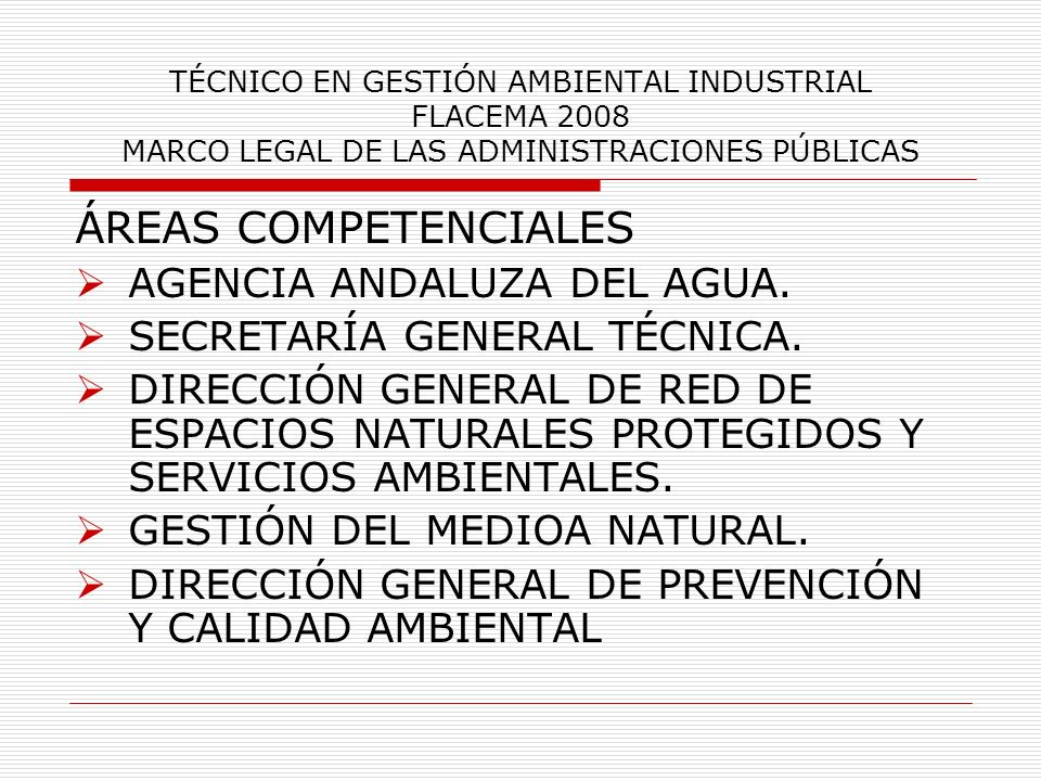 ÁREAS COMPETENCIALES AGENCIA ANDALUZA DEL AGUA.