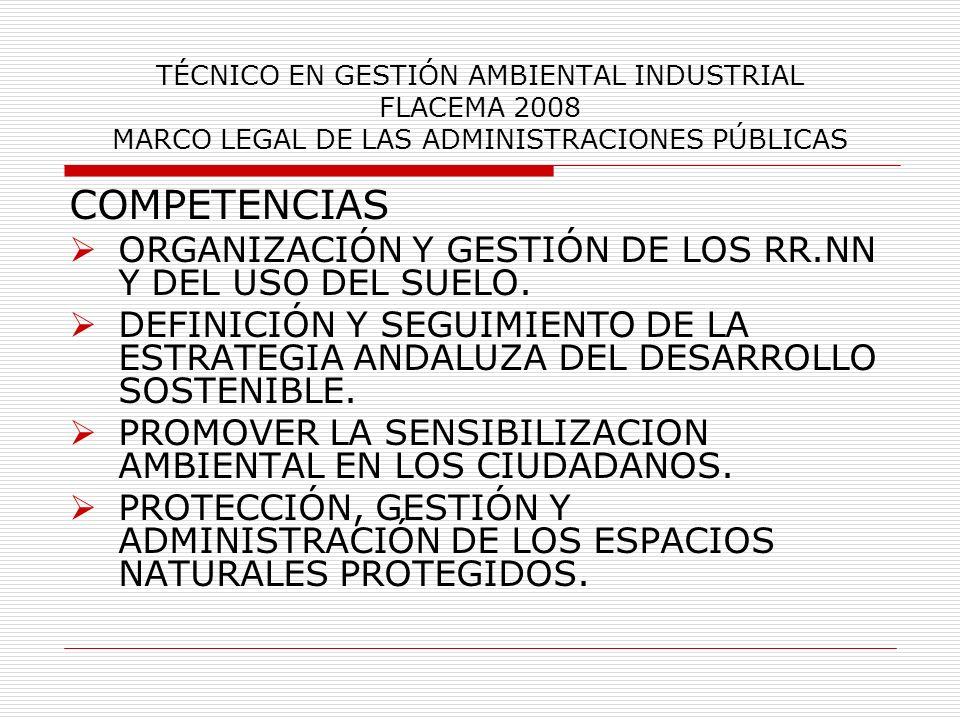 COMPETENCIAS ORGANIZACIÓN Y GESTIÓN DE LOS RR.NN Y DEL USO DEL SUELO.