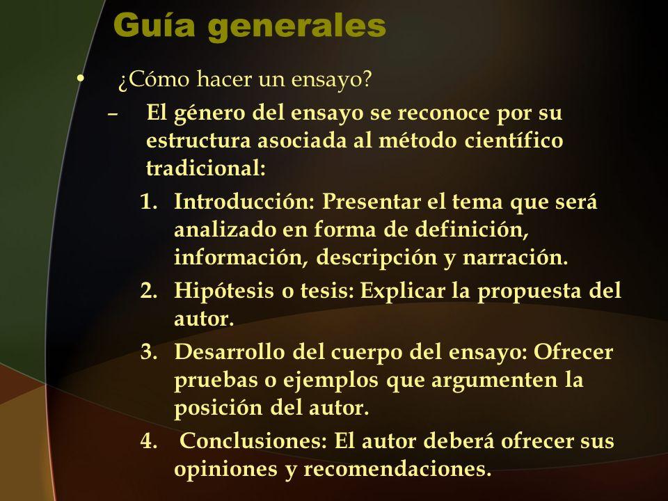 Guía generales ¿Cómo hacer un ensayo