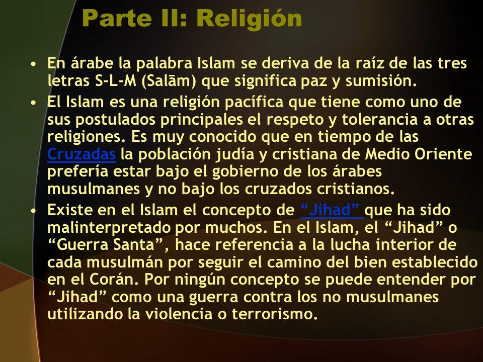 Parte II: Religión En árabe la palabra Islam se deriva de la raíz de las tres letras S-L-M (Salām) que significa paz y sumisión.