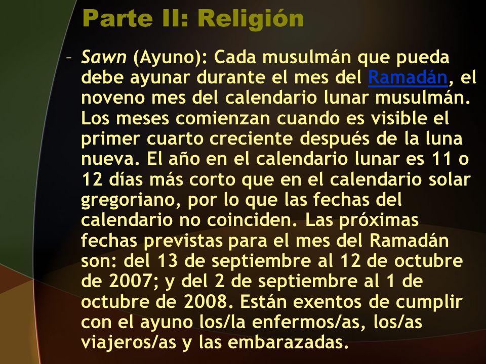 Parte II: Religión