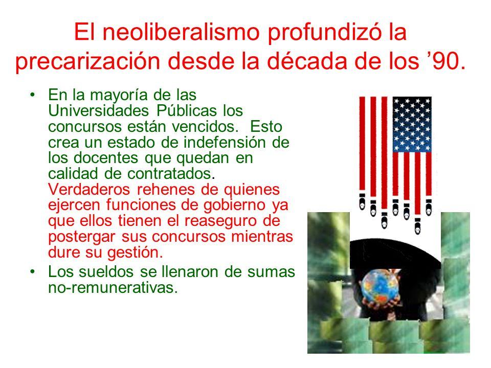 El neoliberalismo profundizó la precarización desde la década de los '90.