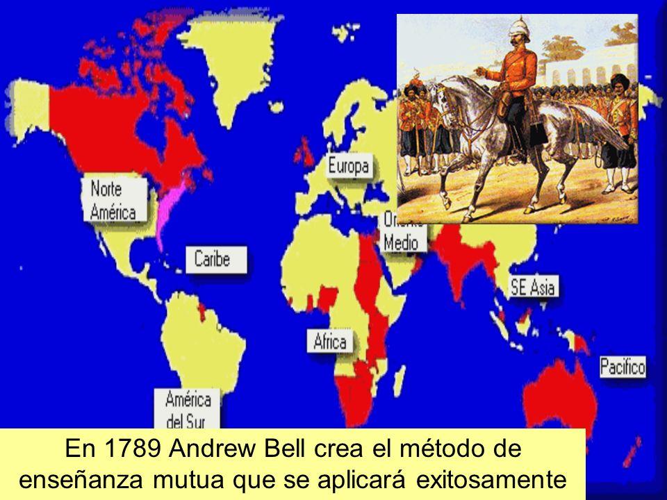 En 1789 Andrew Bell crea el método de enseñanza mutua que se aplicará exitosamente