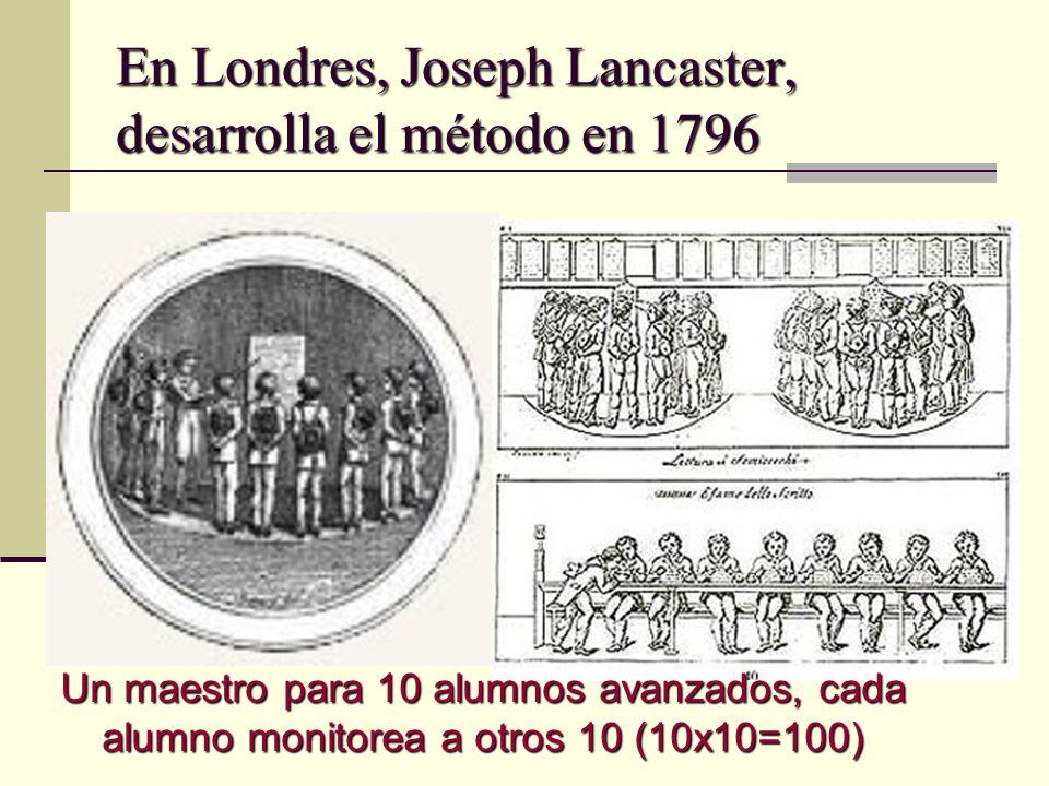 En Londres, Joseph Lancaster, desarrolla el método en 1796