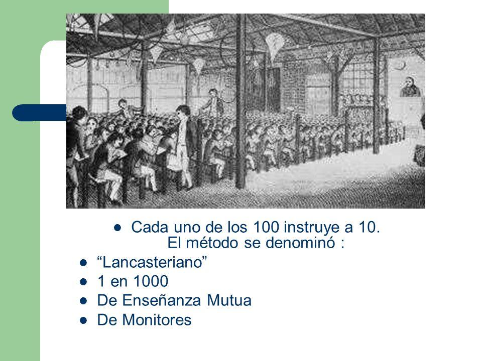 Cada uno de los 100 instruye a 10. El método se denominó :