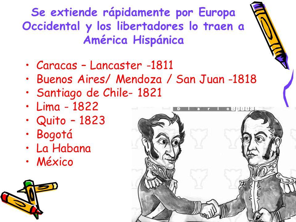 Se extiende rápidamente por Europa Occidental y los libertadores lo traen a América Hispánica